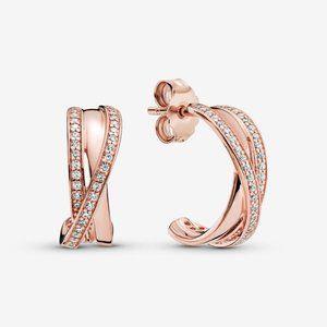 ✨Pandora Sparkling & Polished Lines Hoop Earrings